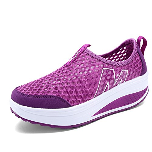 Chaussures plates pour femmes / dames Chaussures à talons hauts à coussin d'air d'été beaucoup de style à choisir 3308PURPLE