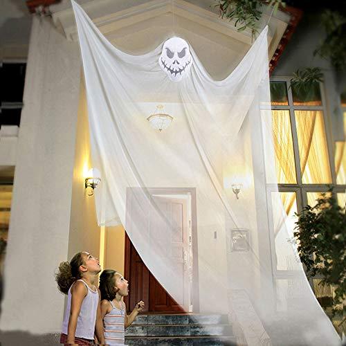 elfisheu Halloween deko Gespenst Geist Gruselig Hängend Türvorhang für Halloween Tür Deko (Weiß)