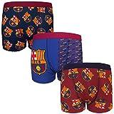 FC Barcelona officiel - 3 boxers thème football - avec blason - garçon - Multicolore - 7-8 ans