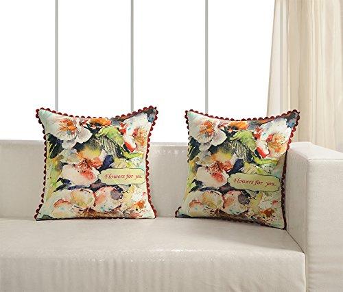 Digital bedruckt 100% Baumwolle 240gsm 18x 18Kissen Set von 2, Blumen und Schmetterling (2 Shams-bettwäsche-set)