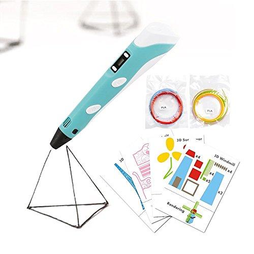 3D Stift LCD Display, 3D Drucker Stift mit 1,75 mm × 3m PLA Filament und 8 Papier Modelle, 3D Stift Set DIY Geschenk für Kinder und Erwachsene