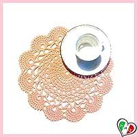 Kleiner Runde Lachs Häkeldeckchen aus Baumwolle - Größe: ø 22 cm - Handmade - ITALY