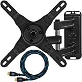 "Cheetah Mounts ALAMEB Supporto da Parete e Soffitto per Monitor e TV LCD da 12 a 32 Pollici e fino a kg 13,6; con braccio articolato rotante e inclinazione regolabile. Cavo HDMI ""Twisted Veins"" da m 3"