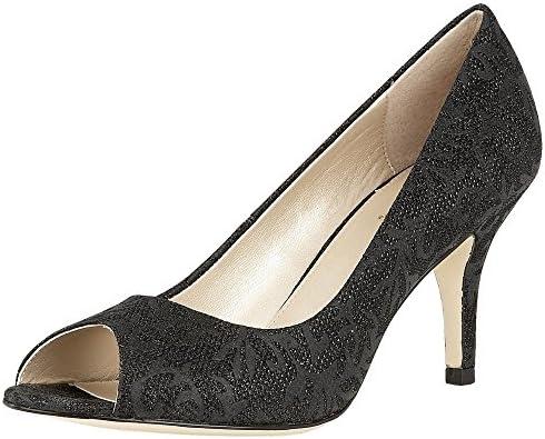 Zapatos De Punta Abierta Corte Lotus Esmay Negro Impresión Textil