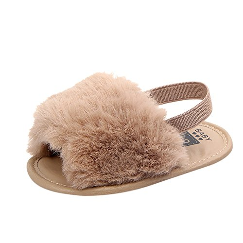 Vovotrade Pattini molli della scarpa dei sandali molli molli solidi della lettera del bambino neonato (13, Cachi)