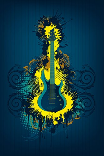 Fototapete selbstklebend E-Gitarre - Illustration gelb - 150x230 cm - Wandtapete - Poster - Dekoration - Wandbild - Wandposter - Bild - Wandbilder - Wanddeko