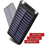 Gnceei Batterie Externes 24000 mAh Power Bank 5.8A 4 Ports Solaire Chargeur Portable avec 3 Entrées (USB C et Micro) et LED Lumineuse pour Smart Cell Phones and Tablet