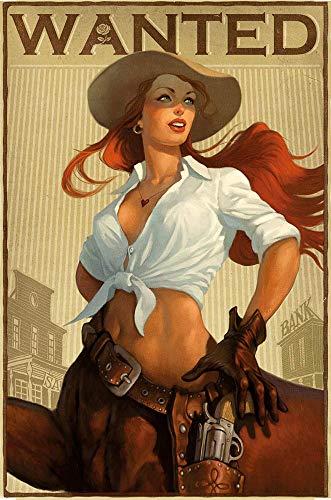 WallAdorn Western Cowgirl Hierro Cartel Pintura Cartel de Chapa Decoración Vintage de Pared para Cafe Bar Pub Home