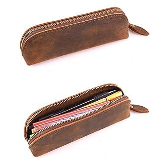 Estuche vintage de piel con cremallera de Saibang, accesorios de papelería de piel auténtica hechos a mano para el colegio o la oficina, estuche de lápices, bolígrafos unisex