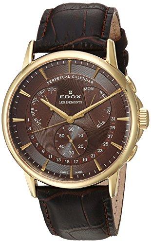 Edox Reloj Cronógrafo para Hombre de Cuarzo con Correa en Cuero 01602-37J-BRID