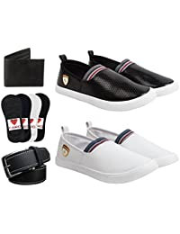 CAIRÖ Casual Stylish Shoes For Men (Combo Pack Of 2 Loafers, 4 Pair Premium Cotton Loafer Socks, Wallet & Belt)