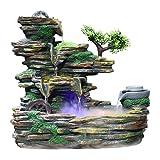 Piedras y cristales de mar Fuente de resina Fengshui Decoración de oficina Plantas de bricolaje Micro paisaje Interior Suculentas en macetas Muebles for el hogar Agua de rocalla Piedras y cristales de