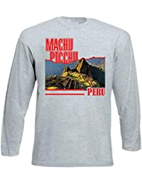teesquare1st Machu Picchu Peru Tshirt de Manga Larga Gris para Hombre