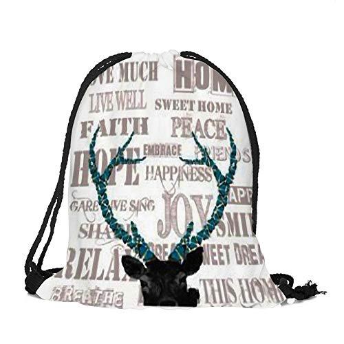 sche Weihnachtsthema Hängende Tasche Beutel Hanf Gebündelt Kordelzug Tee Geschenk Taschen Lagerung Tasche Kosmetiktaschen Aufbewahrung Organizer (Elch 2) ()