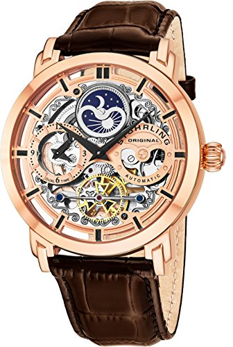 Stuhrling Original Mens Automatic-Self-Wind Luxury Dress Skeleton Dual Time Rose Gold Wrist-Watch 22 Jewels 47 mm Stainless Steel Case Decorative Exposed Back Embossed Supple Genuine Leather Strap …