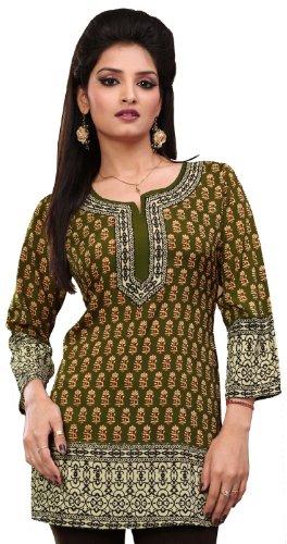 Frauen indischen Kurti Top Tunika Bluse Bedruckte Indien Kleidung (Grün, M) (Kleidung Aus Indien)