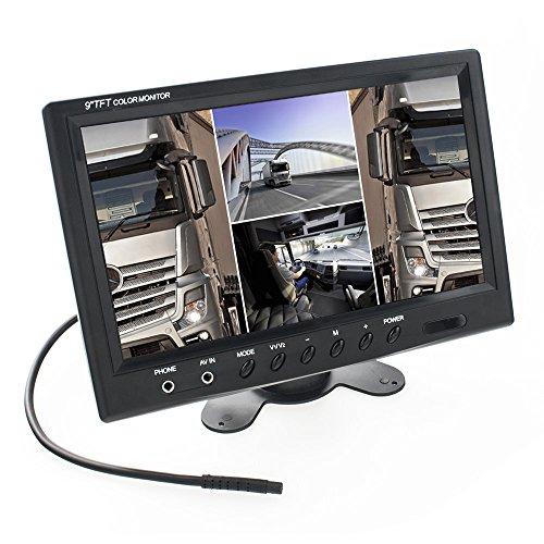 22,9cm (9 Zoll) Digital Auto TFT LCD Monitor Quadscreen (H-Split, 4X RCA VideoIn, 16:9, NTSC & PAL) Multiplex - schwarz Lcd Stand Alone Monitor