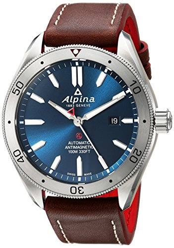 Alpina Men's 'Alpiner 4' Automatic Stainless Steel and Leather Casual Watch, Color Brown (Model: AL-525NS5AQ6)