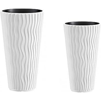 moderne hochwertige pflanzvase pflanzk bel klein 75cm steinoptik grau fiberglas mit. Black Bedroom Furniture Sets. Home Design Ideas