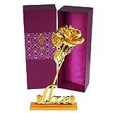 Künstliche goldene Rose mit Standfuß in Geschenkbox – Vergoldete rose als...
