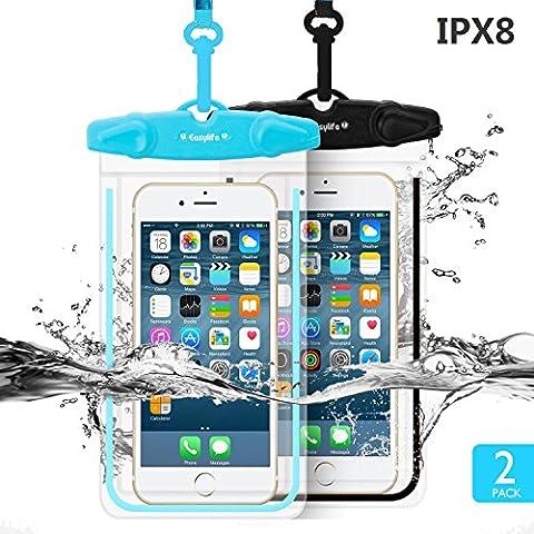 [2 Pack] Housse Étanche Easylife IPX8 Pochette waterproof Fluorescence Clair Sensitive PVC EcranTouch pour iPhone 6s/6, iPhone 6 Plus, Samsung, Huawei, LG, Smartphone de taille Égale et inférieure