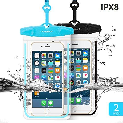 [2 Pack] Housse Protection Étanche Pochette Universel Telephone - Coque Iphone Waterproof,Water Resistant Case,IPX8 Clair Sensitive PVC EcranTouch pour Smartphone 5,5''
