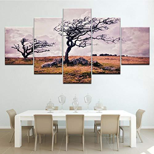 m Landschaft 5 Stück Tapeten Moderne Modulare Poster Kunst Leinwand Malerei Für Wohnzimmer Wohnkultur-40X60/80/100Cm,With Frame ()
