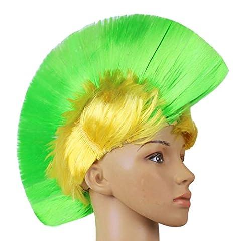 Tianya Filtre fête d'Halloween déguisement mascarade Punk Mohican Coiffure coloré Perruque de cheveux, vert clair, Lex Length:27cm/10.6