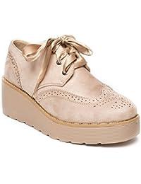 Ideal Shoes - Richelieu à plateforme effet daim et lacets satinés Tamiana