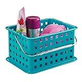 InterDesign Basic - Small Basket Cesta plástico con mango | Guardatodo portátil pequeño para su hogar | Caja apilable para juguetes y accesorios de baño | Plástico azul turquesa