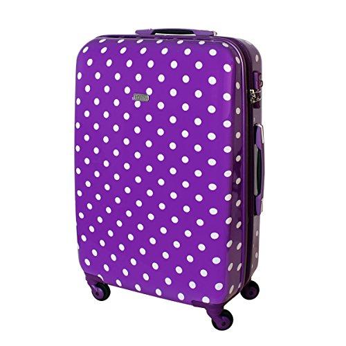 XL Hartschalen Reise Koffer Trolley TSA 85 Liter Lila Punkte 813/818 (Lila Koffer)