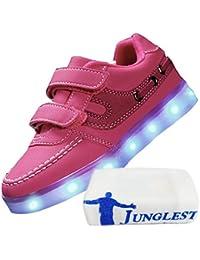 [Presente:pequeña toalla]Negro EU 33, 7 manera colores las unisex luminoso parpadeante de Lightup JUNGLEST® Niños zapatillas recargable LED de deport