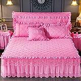 einfarbig spitzen verstimmen bettdecke einheitlichen double bed rock matratzenbezug prinzessin betten bettlaken kissenbezüge mädchen bogen bett 1 / 3pc-pink-1stücke 180 x 200 cm Bettrock
