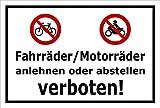 Schild - Fahrräder/Motorräder anlehnen oder abstellen verboten - 30x20cm mit Bohrlöchern | stabile 3mm starke Aluminiumverbundplatte – S00050-048-A +++ in 20 Varianten erhältlich