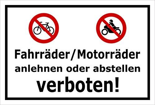 Melis Folienwerkstatt Schild - Fahrräder Motorräder - 30x20cm | Bohrlöcher | 3mm Aluverbund - S00050-048-A -20 VAR.