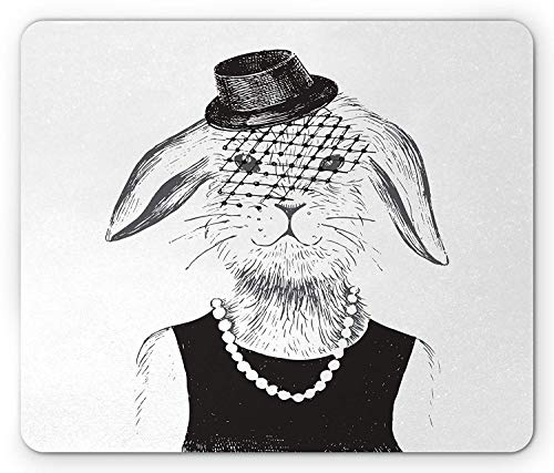 Modern Mouse Pad, Rabbit Girl with Pearls and Vintage Hat Hipster Comic Cute Retro Bunny Graphic Gaming Mousepad Office Mouse Mat Black White