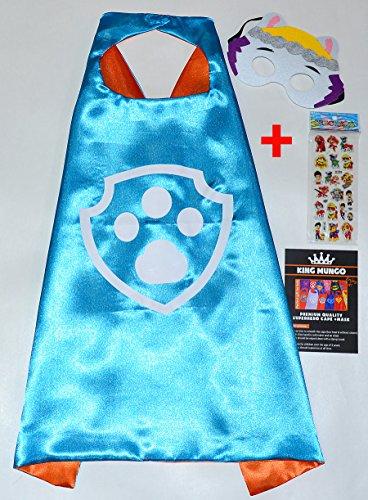 Paw Patrol Everest Cape und Maske + Aufkleber! Superhelden-Kostüme für Kinder - Kostüm für Kinder von 2 bis 11 Jahre - Superheld Mottopartys! Spielsachen für Jungen und Mädchen - King (Everest Kostüm Patrol Paw)