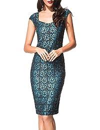 COCO clothing Flores Estampado Encaje Lápiz Vestido de Senora Cuello Redondo Midi para Mujer para Negocios