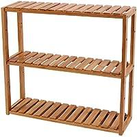 SONGMICS Altura Regulable bambú Estantería, 3Capas Estante de baño Estante de Pared/estantería, Cocina, Estante, Natural, 60x 15x 54cm BCB13Y