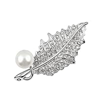 Lucy Jewelry Gold-plated 54MM Austrian Crystal Shiny Leaves Pearl Popular Fashion Brooches For Women Girls