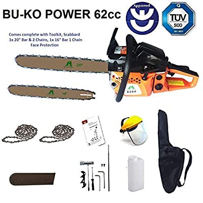 BU-KO Lightweight Petrol Chainsaw | Chains and Bar Included | Cover Bag and Full Safety Gear