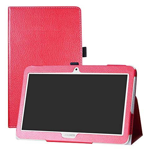 """LFDZ Archos Access 101 3G Hülle, Schutzhülle mit Hochwertiges PU Leder Tasche Case für 10.1"""" Archos Access 101 3G Tablet(Not fit Access 101 WiFi),Rot"""