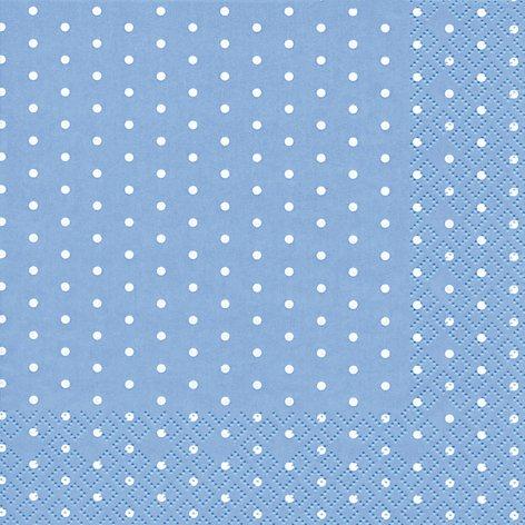 20 Servietten weiße Mini-Punkte auf hellblau / gepunktet / Muster / zeitlos 33x33cm -