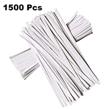 N/ A 1500 Pcs 4.7 Inches Kraft Paper Twist Ties, White Bendable Reusable Bread Ties for Packaging bag Valentines Gift Electronics Cords
