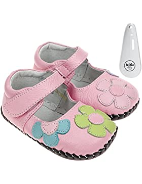 FREYCOO infantil niñas Real piel suave suela zapatos de bebé–Rosa con flores de colores y Velcro–con calzador