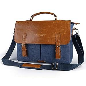 14 Zoll Laptop Tasche Beschoi Business Aktentasche Notebooktasche Umhängetasche Messenger Bag aus Canvas Leder für Männer/Frauen