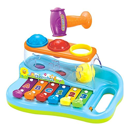 Early Education 1 Year Olds Baby Toy Enlighten Xylophone with 3 Color Balls/Small Hammer for Children & Kids Boys and Girls