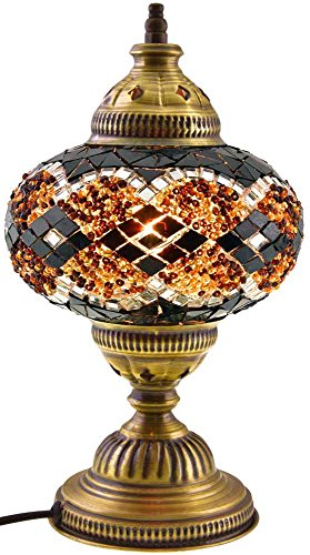 Large New* Turkish Moroccan Mosaic Glass Handmade Table Desk Bedside Lamp Light with Bronz Base, 18 cm