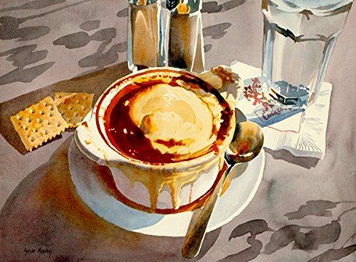 Arthouse Zwiebelsuppe, Giclée-Print of Aquarell Stillleben, Schale Suppe, Saltines, und Einem Glas Wasser, 17,8x 25,4cm -