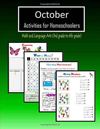 October Activities for Homeschoolers: Math and Language arts (3rd grade to 6th grade)